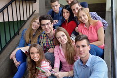Happy teens group in school royalty free stock photos