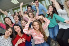 Happy teens group in school Stock Photos