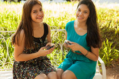 Happy teens social networking royalty free stock image