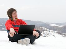 Happy teens student with laptop Stock Photo