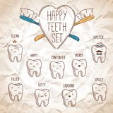 Happy teeth set. Dental collection for your design Royalty Free Stock Photography