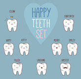 Happy teeth set. Dental collection for your design Stock Images
