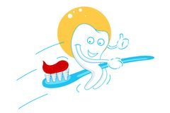 Happy teeth with tooth paste Stock Images