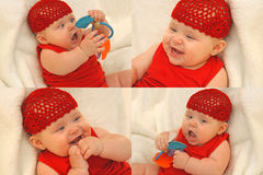 Happy teething baby girl stock photography