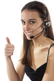 Happy telephone operator takes your calls Stock Photography