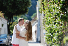 Happy tender couple in honeymoon in Positano, Amalfi coast, Italy Royalty Free Stock Photos