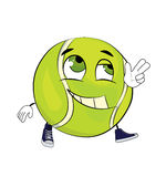 Happy tennis ball cartoon Stock Image