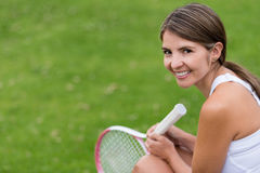 Happy tennis player Stock Photography