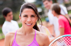 Happy tennis player Royalty Free Stock Photos