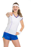 Happy tennis player pointing in camera Stock Photography