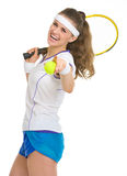 Happy tennis player with racket and ball Stock Image