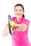 happy tennis player ready to hit the ball with a racket Stock Photos