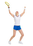Happy tennis player rejoicing in success Stock Images