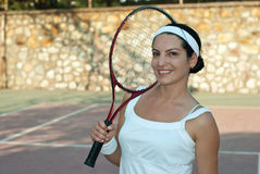 Happy tennis player woman Stock Photo