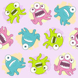 Happy Tentacle Creatures Seamless Tile. A seamless pattern of colorful little cute monsters and creatures Stock Photo
