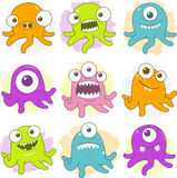 Happy Tentacle Creatures Set Stock Images