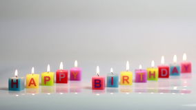Happy text candle flame stock footage