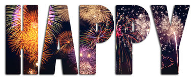 Happy text filled with fireworks Stock Images