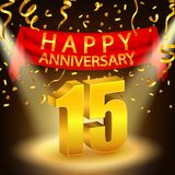 Happy 15th Anniversary celebration with golden confetti and spotlight Stock Photography