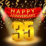 Happy 35th Anniversary celebration with golden confetti and spotlight Stock Photo