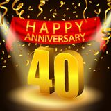 Happy 40th Anniversary celebration with golden confetti and spotlight Stock Photos