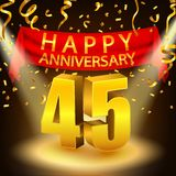 Happy 45th Anniversary celebration with golden confetti and spotlight Stock Photos