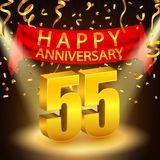Happy 55th Anniversary celebration with golden confetti and spotlight Stock Images