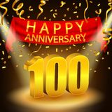 Happy 100th Anniversary celebration with golden confetti and spotlight. Vector illustration of Happy 100th Anniversary celebration with golden confetti and Royalty Free Stock Photo