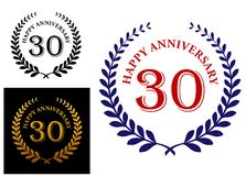 Happy 30th anniversary emblem. With a foliate laurel wreath enclosing the text - Happy Anniversary and 30 -  in three color variations Royalty Free Stock Photo