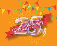 Happy 25th anniversary glass bulb numbers set. Happy 25th anniversary. Glass bulb number with ribbon and party decoration on the colorful background Stock Photography