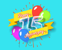 Happy 15th anniversary glass bulb numbers set. Happy 15th anniversary. Glass bulb number with ribbon and party decoration on the colorful background Royalty Free Stock Image