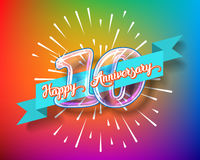Happy 10th anniversary glass bulb numbers set. Happy 10th anniversary. Glass bulb number with ribbon and party decoration on the colorful background Stock Photo