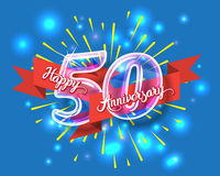 Happy 50th anniversary glass bulb numbers set. Happy 50th anniversary. Glass bulb number with ribbon and party decoration on the colorful background stock illustration