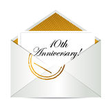 Happy 10th Anniversary gold mail letter. Illustration design over white Royalty Free Stock Photo