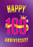 Happy 100th Anniversary. A 100th Anniversary Greeting Card Template Stock Photos
