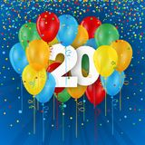 Happy 20th Birthday / Anniversary card with balloons. Happy 20th Birthday / Anniversary vector card with colorful balloons and confetti on dark blue background Stock Photos