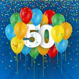 Happy 50th Birthday / Anniversary card with balloons. Happy 50th Birthday / Anniversary vector card with colorful balloons and confetti on dark blue background Stock Images