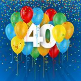 Happy 40th Birthday / Anniversary card with balloons. Happy 40th Birthday / Anniversary vector card with colorful balloons and confetti on dark blue background stock illustration