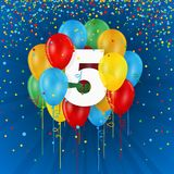 Happy 5th Birthday / Anniversary card with balloons. Happy 5th Birthday / Anniversary vector card with colorful balloons and confetti on dark blue background stock illustration