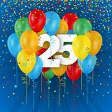 Happy 25th Birthday / Anniversary card with balloons. Happy 25th Birthday / Anniversary vector card with colorful balloons and confetti on dark blue background Royalty Free Stock Photography