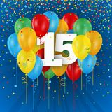 Happy 15th Birthday / Anniversary card with balloons. Happy 15th Birthday / Anniversary vector card with colorful balloons and confetti on dark blue background stock illustration