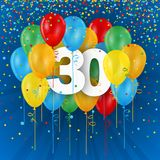 Happy 30th Birthday / Anniversary card with balloons. Happy 30th Birthday / Anniversary vector card with colorful balloons and confetti on dark blue background royalty free illustration