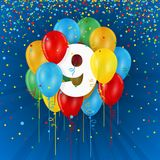 Happy 9th Birthday / Anniversary card with balloons. Happy 9th Birthday / Anniversary vector card with colorful balloons and confetti on dark blue background Royalty Free Stock Image