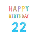 Happy 22th birthday anniversary card Stock Images