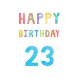 Happy 23th birthday anniversary card Stock Photography