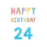 Happy 24th birthday anniversary card Royalty Free Stock Photo