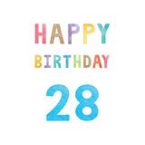 Happy 28th birthday anniversary card Royalty Free Stock Images