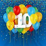 Happy 10th Birthday / Anniversary card with balloons. Happy 10th Birthday / Anniversary vector card with colorful balloons and confetti on dark blue background Royalty Free Illustration