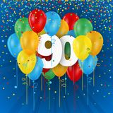 Happy 90th Birthday / Anniversary card with balloons. Happy 90th Birthday / Anniversary vector card with colorful balloons and confetti on dark blue background Stock Photo