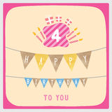 Happy 4th birthday card. Happy 4th birthday anniversary card with gift boxes and candles Royalty Free Stock Image